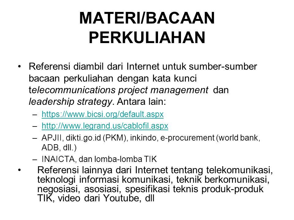 MATERI/BACAAN PERKULIAHAN Referensi diambil dari Internet untuk sumber-sumber bacaan perkuliahan dengan kata kunci telecommunications project manageme