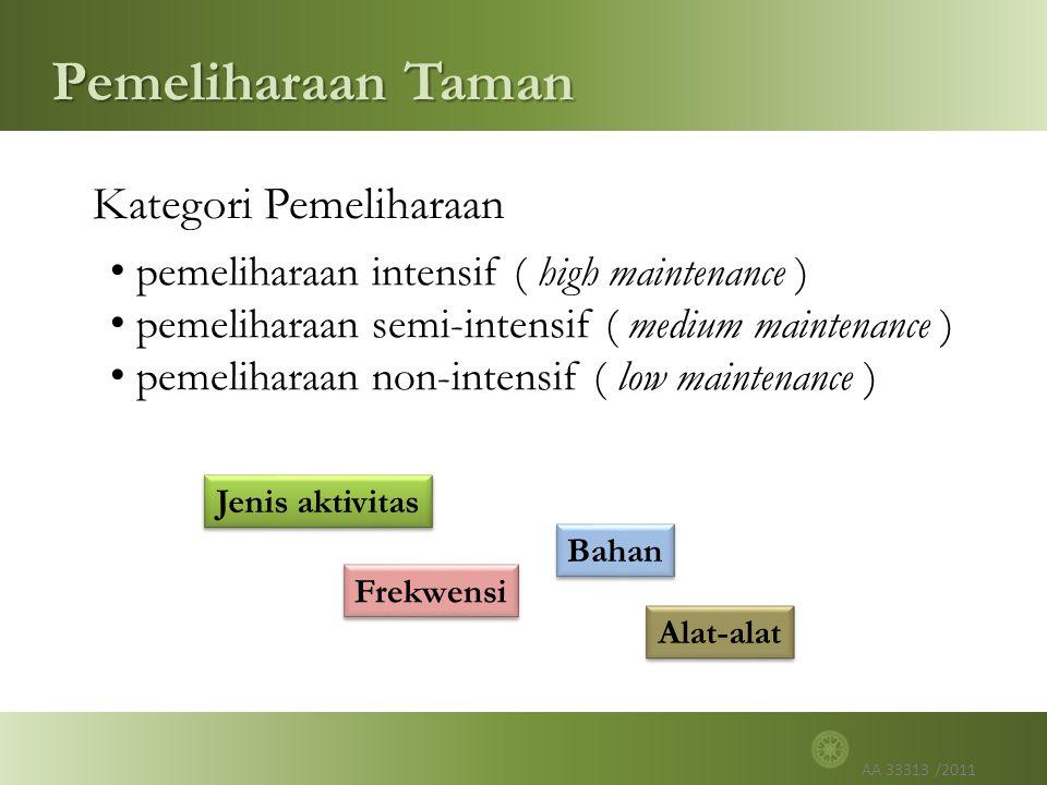 AA 33313 /2011 Pemeliharaan Taman Kategori Pemeliharaan pemeliharaan intensif ( high maintenance ) pemeliharaan semi-intensif ( medium maintenance ) pemeliharaan non-intensif ( low maintenance ) Jenis aktivitas Frekwensi Alat-alat Bahan