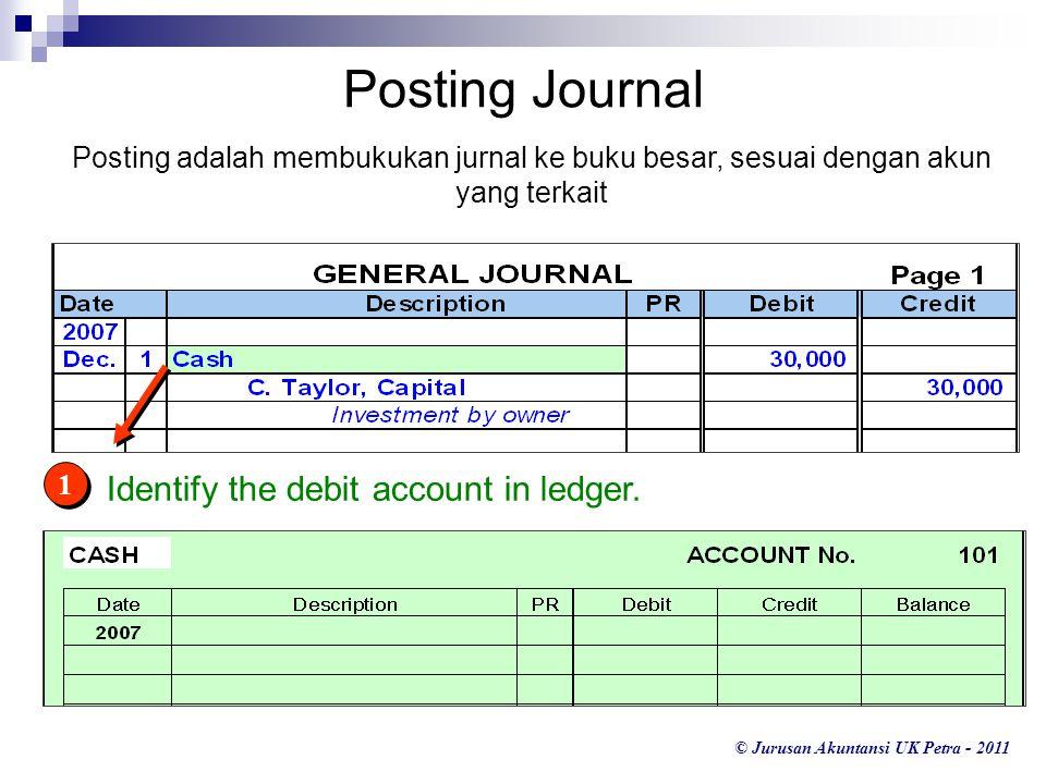 © Jurusan Akuntansi UK Petra - 2011 1 1 Identify the debit account in ledger. Posting Journal Posting adalah membukukan jurnal ke buku besar, sesuai d