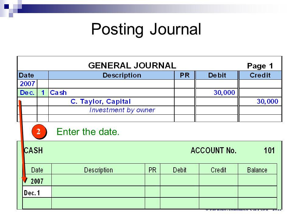 © Jurusan Akuntansi UK Petra - 2011 2 2 Enter the date. Posting Journal