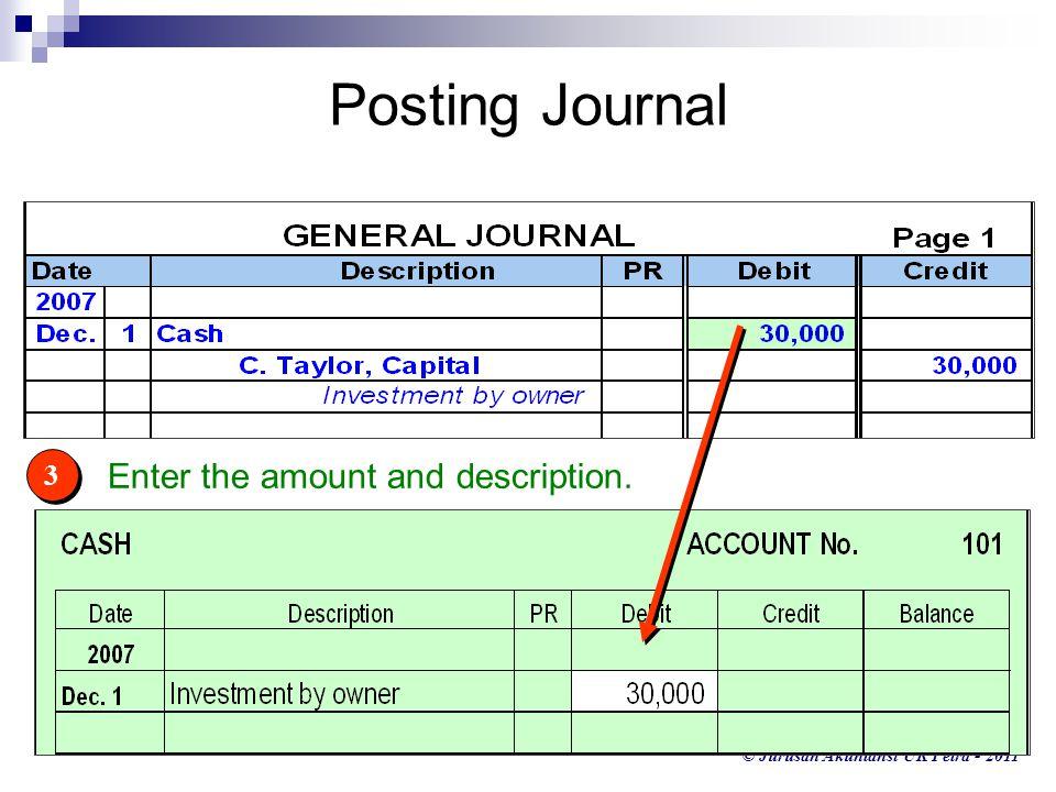 © Jurusan Akuntansi UK Petra - 2011 3 3 Enter the amount and description. Posting Journal