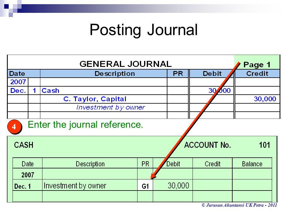© Jurusan Akuntansi UK Petra - 2011 4 4 Enter the journal reference. Posting Journal