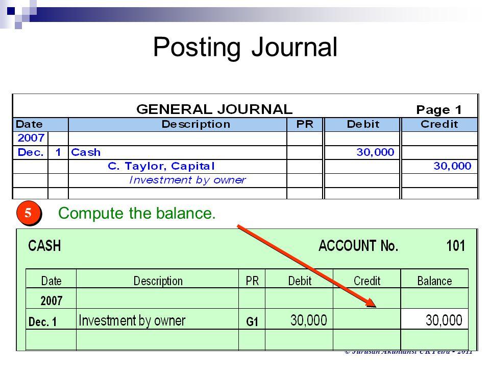 © Jurusan Akuntansi UK Petra - 2011 5 5 Compute the balance. Posting Journal