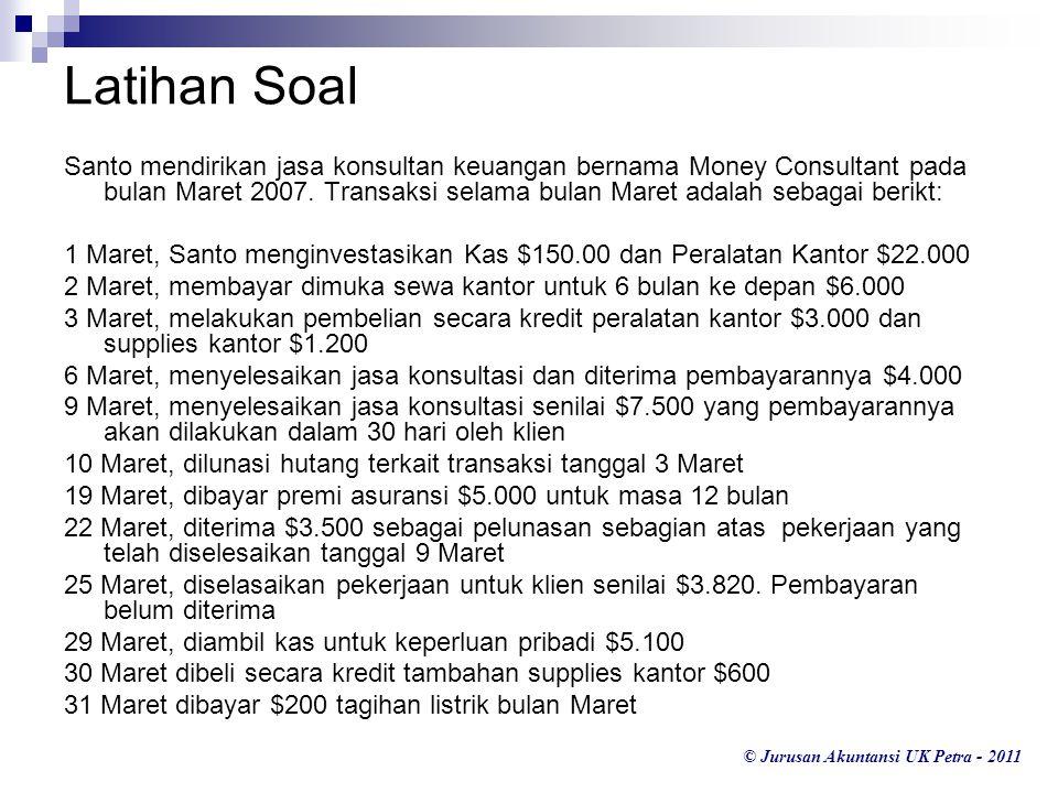 © Jurusan Akuntansi UK Petra - 2011 Latihan Soal Santo mendirikan jasa konsultan keuangan bernama Money Consultant pada bulan Maret 2007.