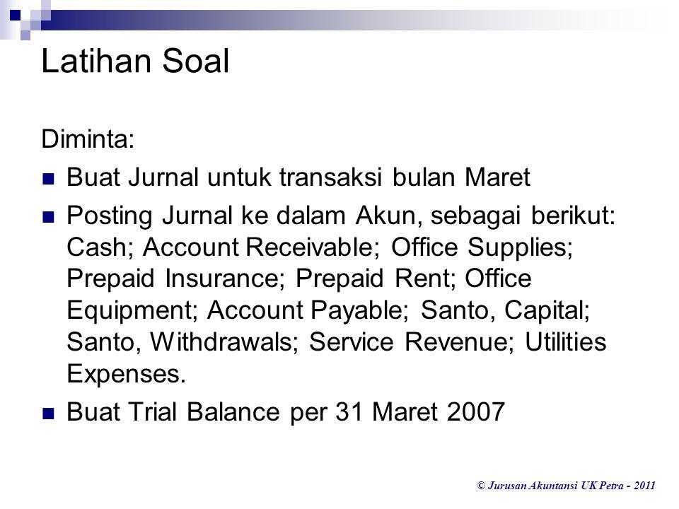 © Jurusan Akuntansi UK Petra - 2011 Latihan Soal Diminta: Buat Jurnal untuk transaksi bulan Maret Posting Jurnal ke dalam Akun, sebagai berikut: Cash;