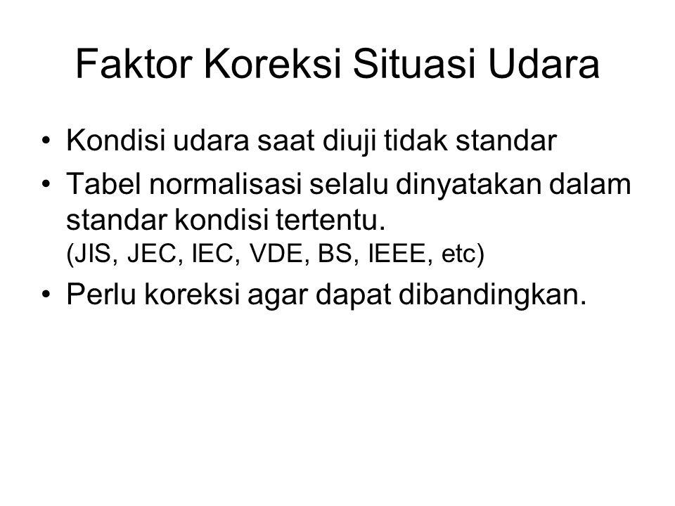 Faktor Koreksi Situasi Udara Kondisi udara saat diuji tidak standar Tabel normalisasi selalu dinyatakan dalam standar kondisi tertentu. (JIS, JEC, IEC