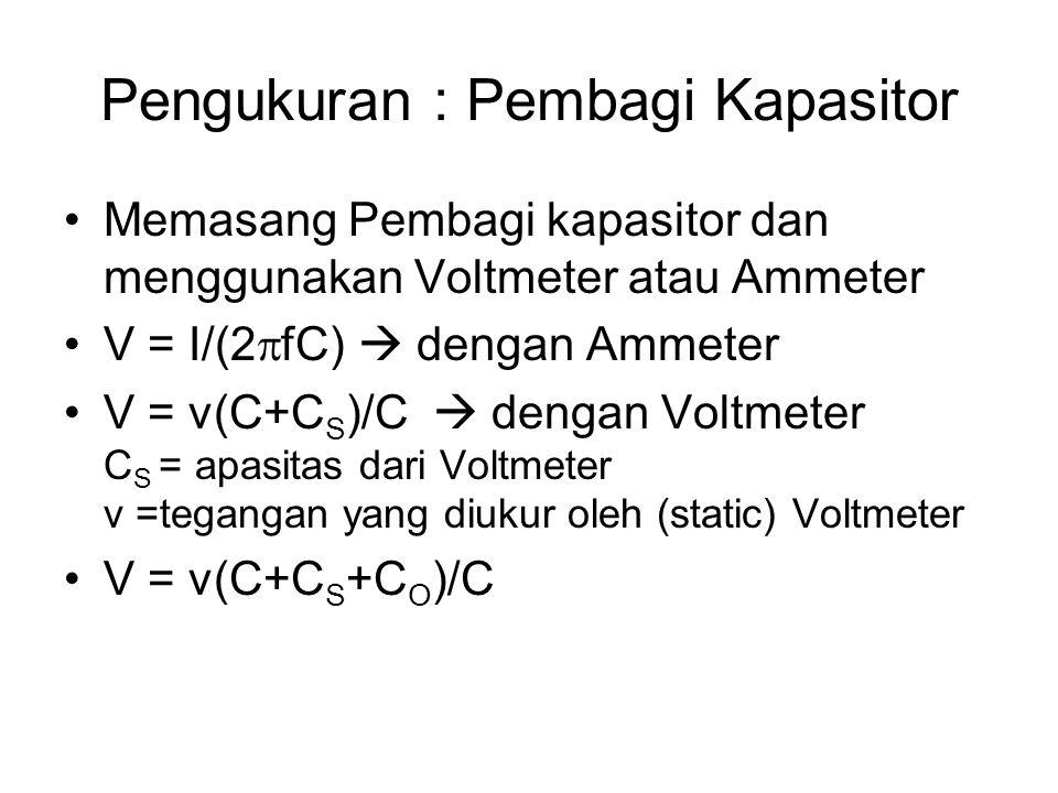 Pengukuran : Pembagi Kapasitor Memasang Pembagi kapasitor dan menggunakan Voltmeter atau Ammeter V = I/(2  fC)  dengan Ammeter V = v(C+C S )/C  den