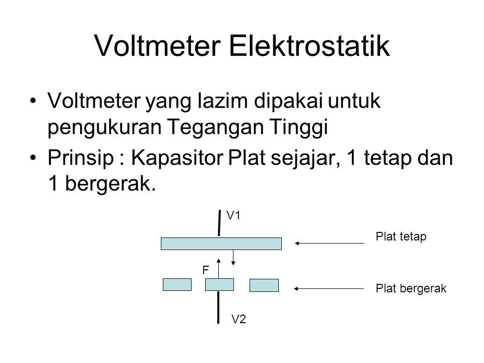 Voltmeter Elektrostatik Voltmeter yang lazim dipakai untuk pengukuran Tegangan Tinggi Prinsip : Kapasitor Plat sejajar, 1 tetap dan 1 bergerak. F V1 V