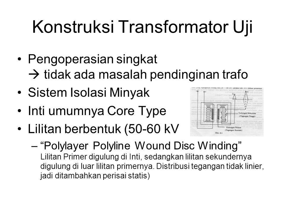 Konstruksi Transformator Uji Pengoperasian singkat  tidak ada masalah pendinginan trafo Sistem Isolasi Minyak Inti umumnya Core Type Lilitan berbentu