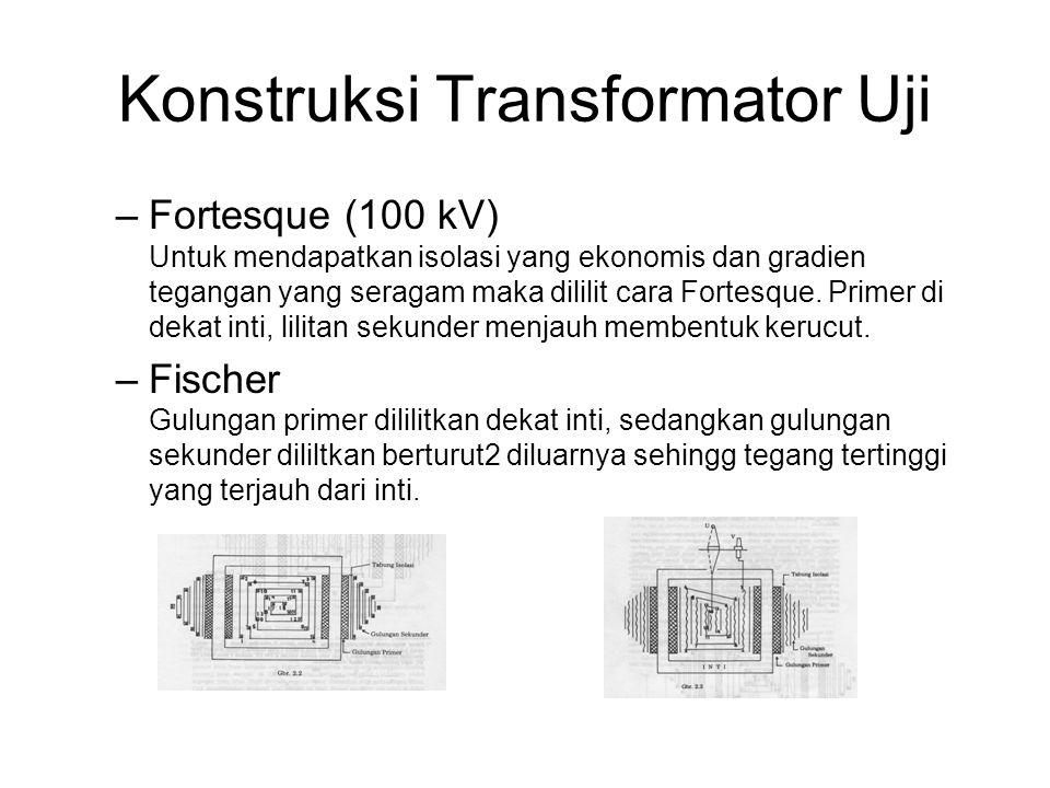 Konstruksi Transformator Uji –Fortesque (100 kV) Untuk mendapatkan isolasi yang ekonomis dan gradien tegangan yang seragam maka dililit cara Fortesque