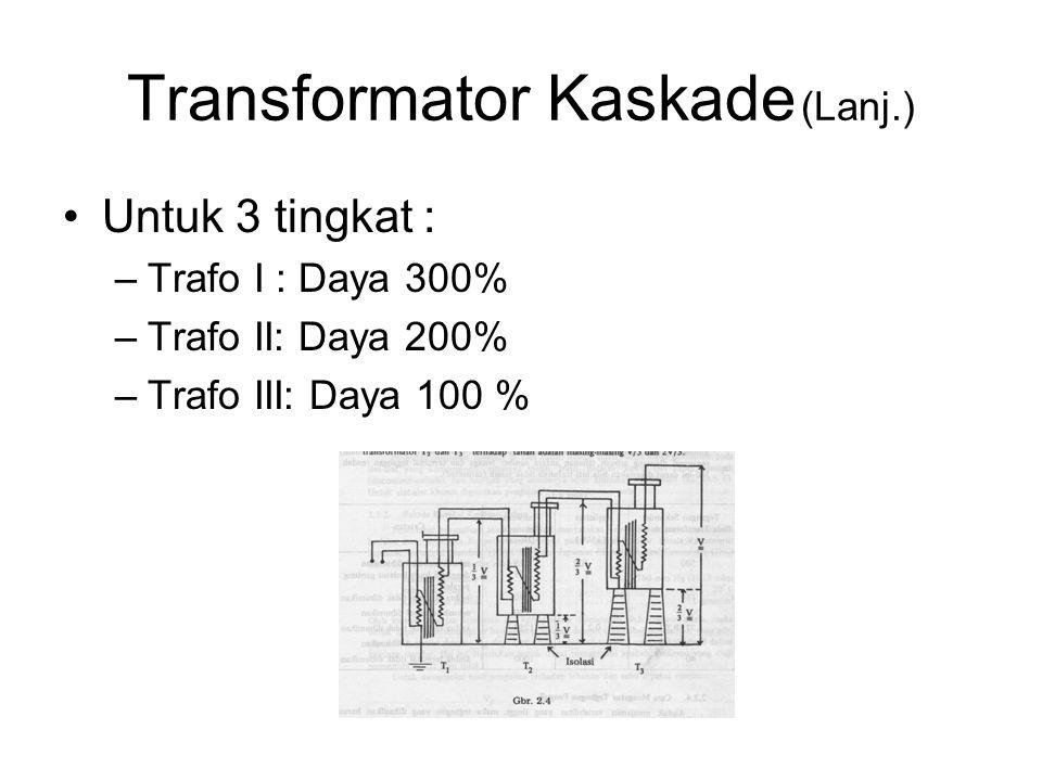Transformator Kaskade (Lanj.) Untuk 3 tingkat : –Trafo I : Daya 300% –Trafo II: Daya 200% –Trafo III: Daya 100 %