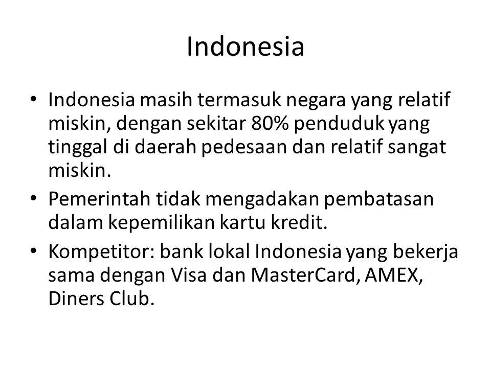 Indonesia Indonesia masih termasuk negara yang relatif miskin, dengan sekitar 80% penduduk yang tinggal di daerah pedesaan dan relatif sangat miskin.