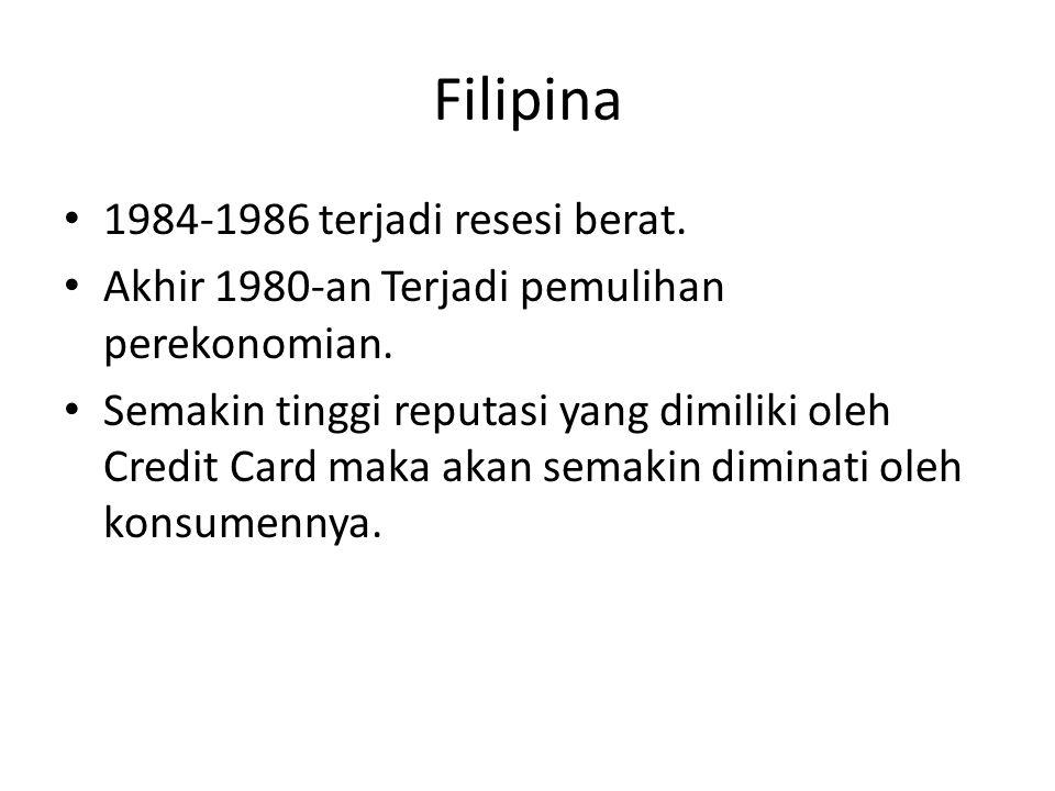 Filipina 1984-1986 terjadi resesi berat.Akhir 1980-an Terjadi pemulihan perekonomian.