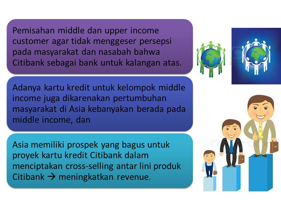 Pemisahan middle dan upper income customer agar tidak menggeser persepsi pada masyarakat dan nasabah bahwa Citibank sebagai bank untuk kalangan atas.