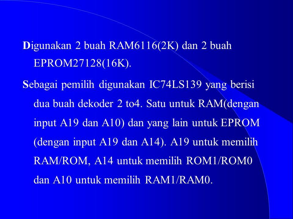 """4 Memory Memory Map yang dirancang adalah sbb: KOSONG KOSONG 0 h - 7FF h 0 h - 7FF h FC000 h - FFFFF h RAM0""""6116"""" RAM1""""6116"""" ROM1""""27128"""" ROM0""""27128"""" 1"""