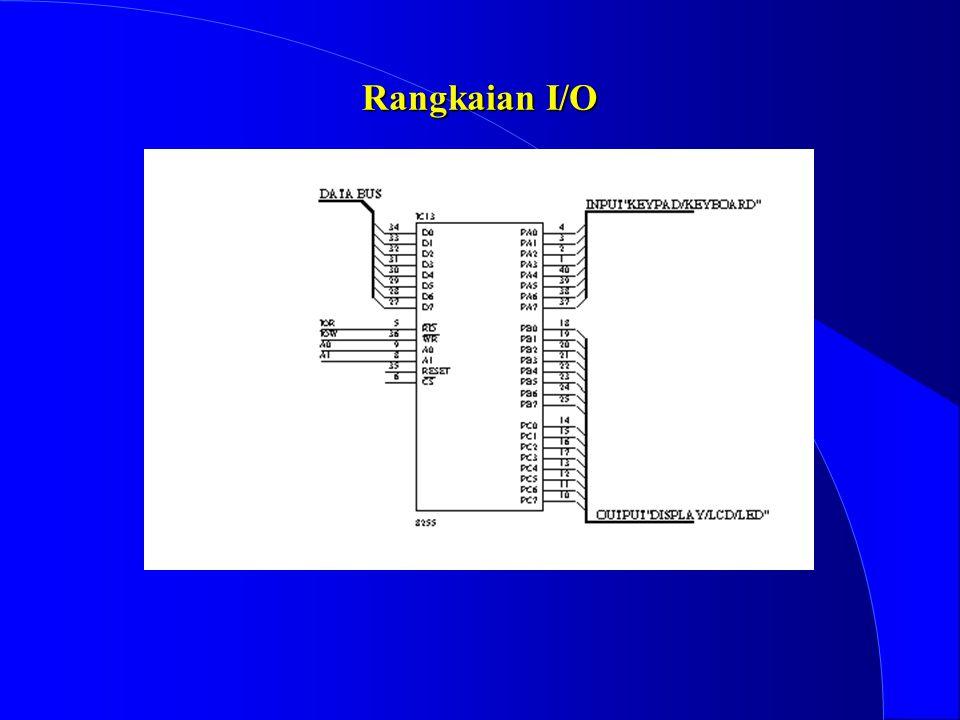 4 Sistem I/O Karena I/O yang ditangani adalah sebuah inputan (data keypad) dan sebuah outputan (LCD/led) maka hanya digunakan sebuah PPI8255 yang meng
