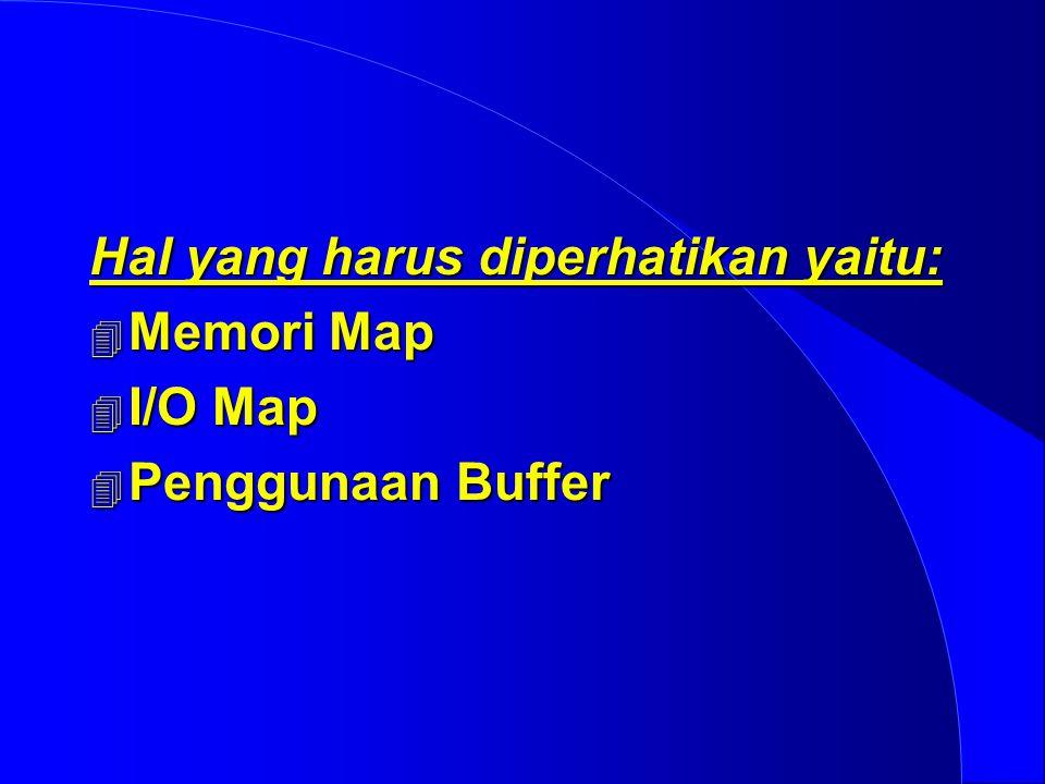 Hal yang harus diperhatikan yaitu:  Memori Map  I/O Map  Penggunaan Buffer