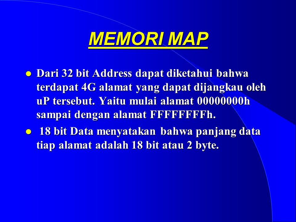 MEMORI MAP l Dari 32 bit Address dapat diketahui bahwa terdapat 4G alamat yang dapat dijangkau oleh uP tersebut.