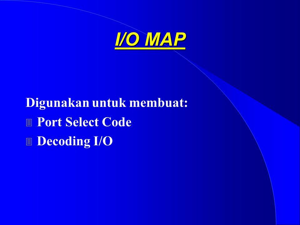 I/O MAP Digunakan untuk membuat: 3 Port Select Code 3 Decoding I/O