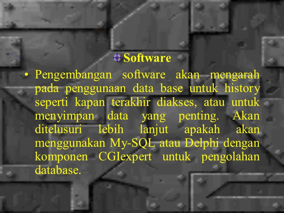 Software Pengembangan software akan mengarah pada penggunaan data base untuk history seperti kapan terakhir diakses, atau untuk menyimpan data yang penting.