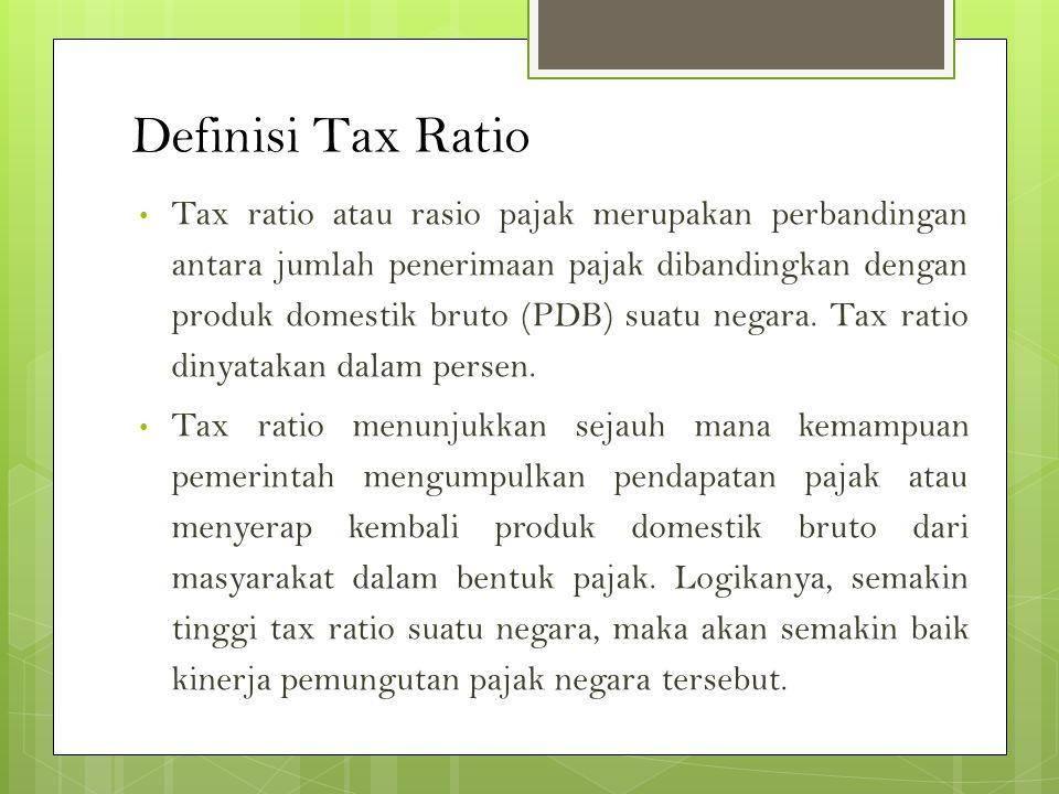 Definisi Tax Ratio Tax ratio atau rasio pajak merupakan perbandingan antara jumlah penerimaan pajak dibandingkan dengan produk domestik bruto (PDB) suatu negara.