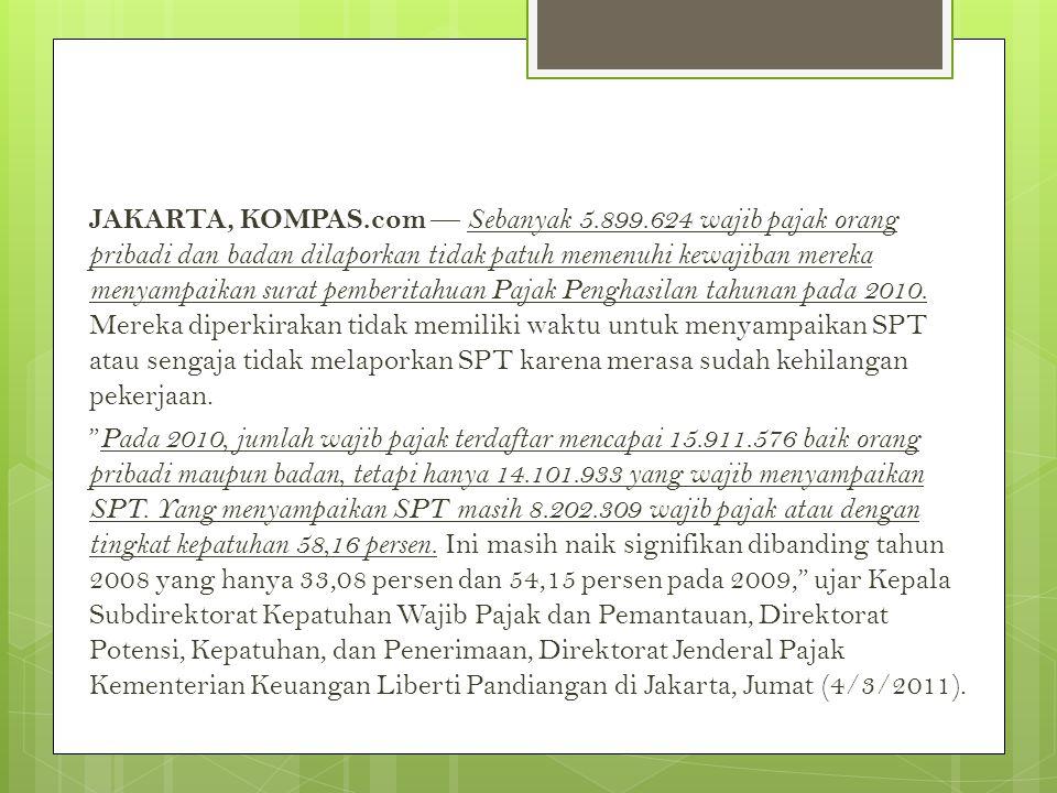 JAKARTA, KOMPAS.com — Sebanyak 5.899.624 wajib pajak orang pribadi dan badan dilaporkan tidak patuh memenuhi kewajiban mereka menyampaikan surat pemberitahuan Pajak Penghasilan tahunan pada 2010.