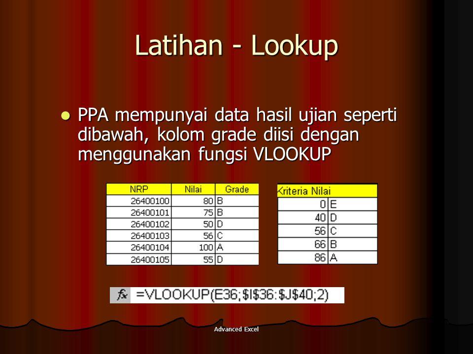 Advanced Excel Latihan - Lookup PPA mempunyai data hasil ujian seperti dibawah, kolom grade diisi dengan menggunakan fungsi VLOOKUP PPA mempunyai data