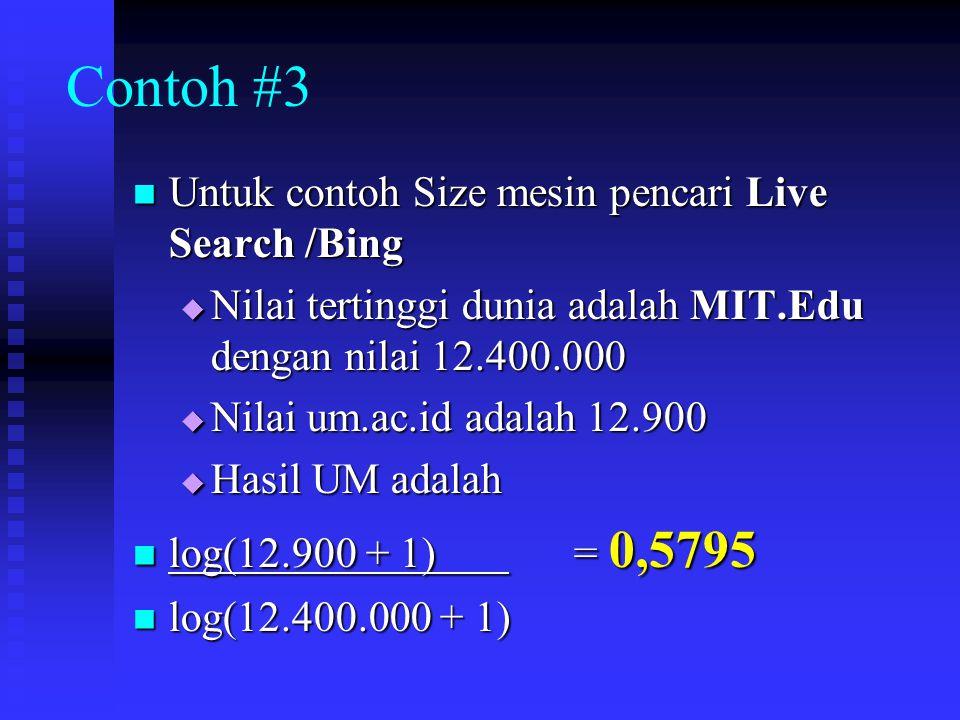 Contoh #3 Untuk contoh Size mesin pencari Live Search /Bing Untuk contoh Size mesin pencari Live Search /Bing  Nilai tertinggi dunia adalah MIT.Edu d