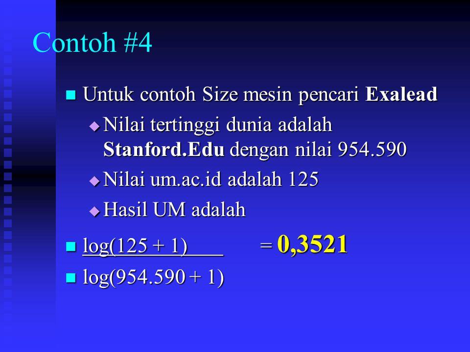 Contoh #4 Untuk contoh Size mesin pencari Exalead Untuk contoh Size mesin pencari Exalead  Nilai tertinggi dunia adalah Stanford.Edu dengan nilai 954