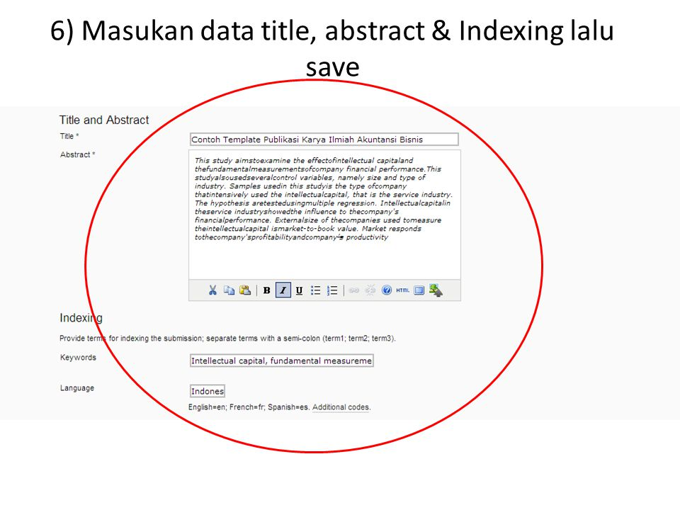 6) Masukan data title, abstract & Indexing lalu save