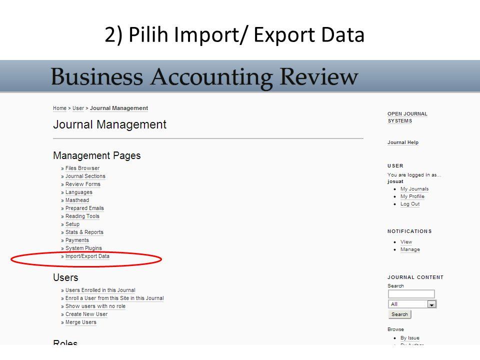 2) Pilih Import/ Export Data