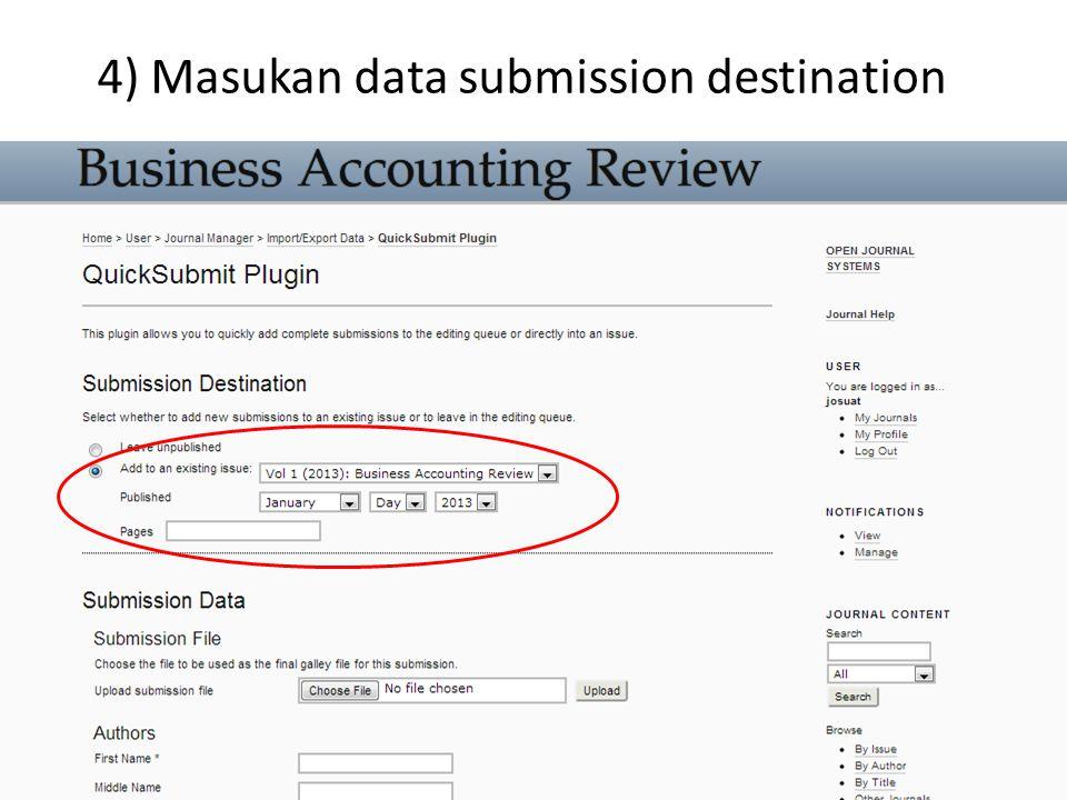 5) Masukan data submission file & authors