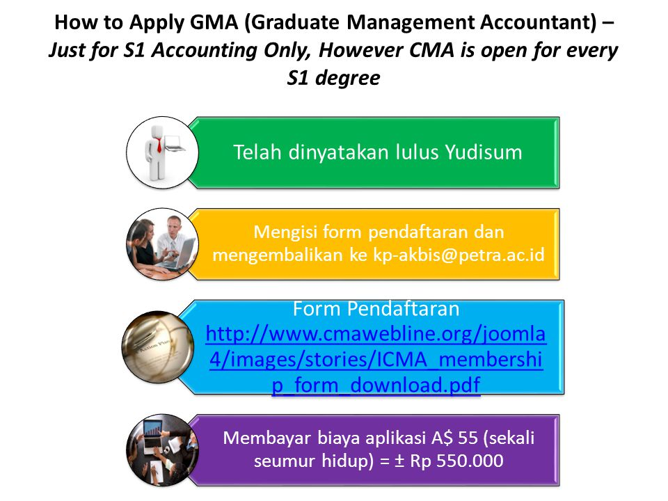 How to Apply GMA (Graduate Management Accountant) – Just for S1 Accounting Only, However CMA is open for every S1 degree Telah dinyatakan lulus Yudisu
