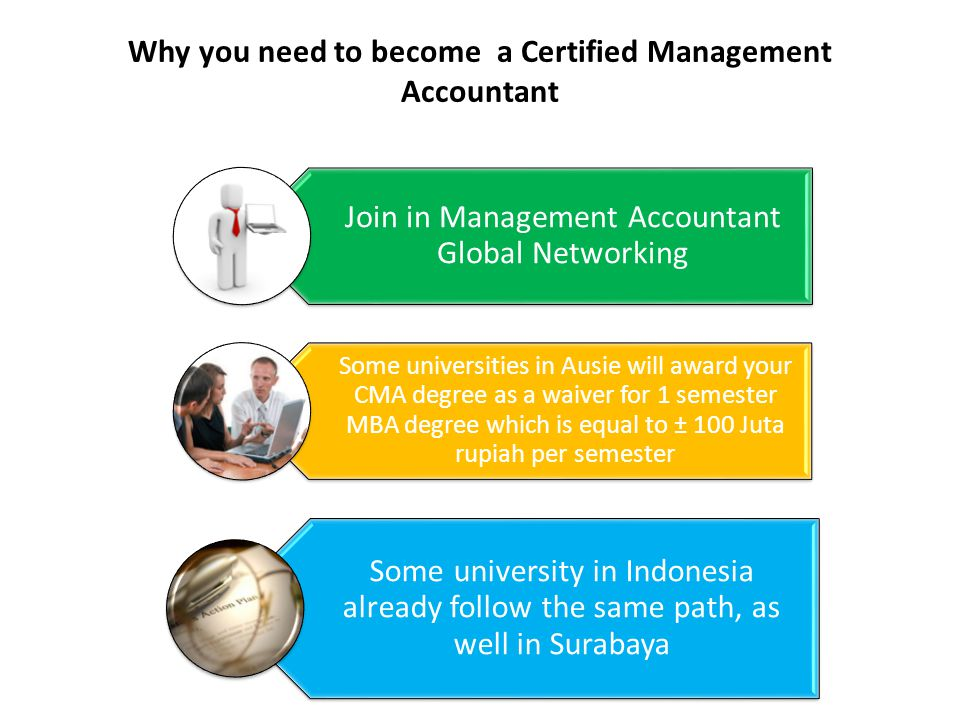 Why you need to become a Certified Management Accountant Join in Management Accountant Global Networking Some universities in Ausie will award your CM