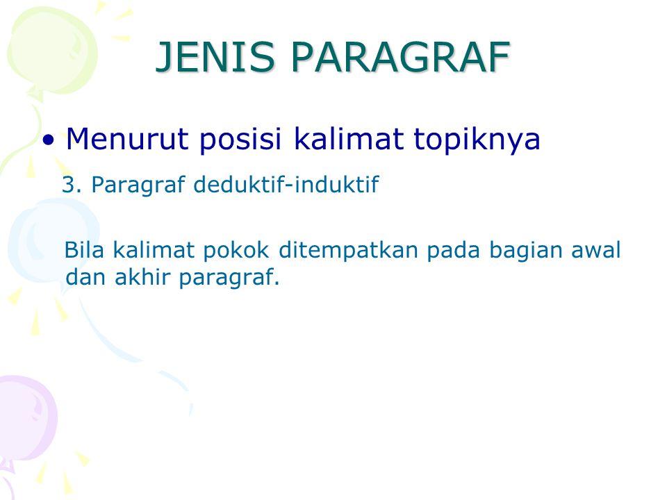JENIS PARAGRAF Menurut posisi kalimat topiknya 3. Paragraf deduktif-induktif Bila kalimat pokok ditempatkan pada bagian awal dan akhir paragraf.