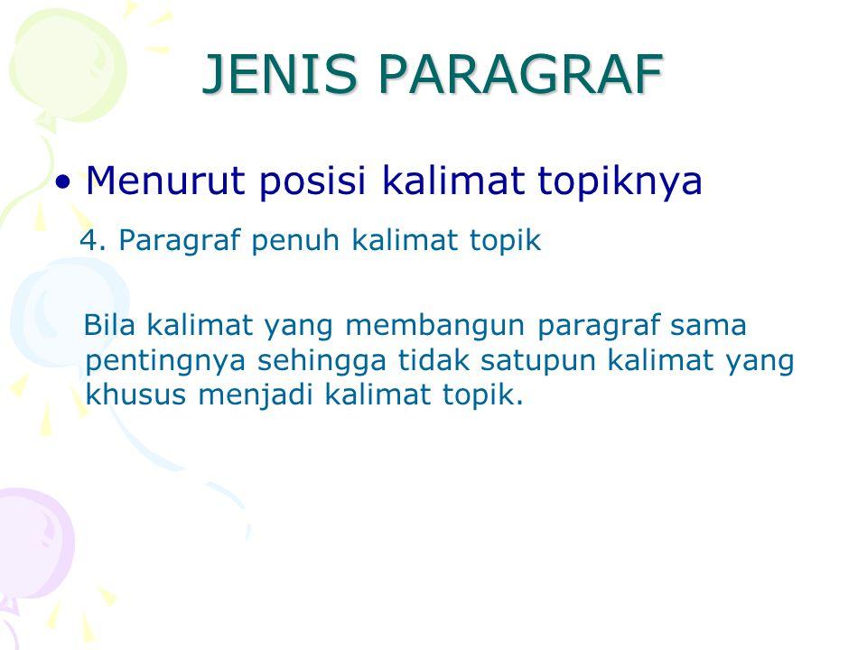 JENIS PARAGRAF Menurut posisi kalimat topiknya 4. Paragraf penuh kalimat topik Bila kalimat yang membangun paragraf sama pentingnya sehingga tidak sat