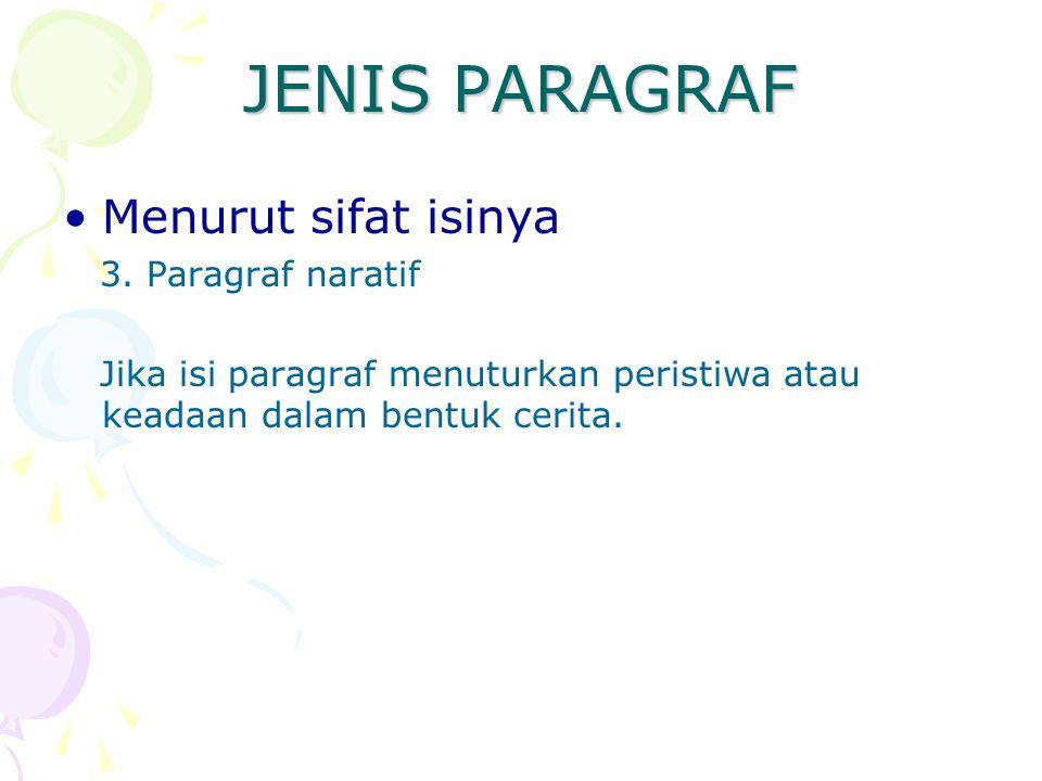 JENIS PARAGRAF Menurut sifat isinya 3. Paragraf naratif Jika isi paragraf menuturkan peristiwa atau keadaan dalam bentuk cerita.