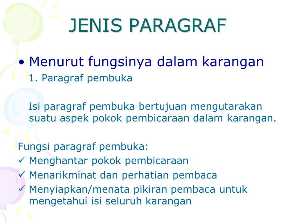 JENIS PARAGRAF Menurut fungsinya dalam karangan 1. Paragraf pembuka Isi paragraf pembuka bertujuan mengutarakan suatu aspek pokok pembicaraan dalam ka