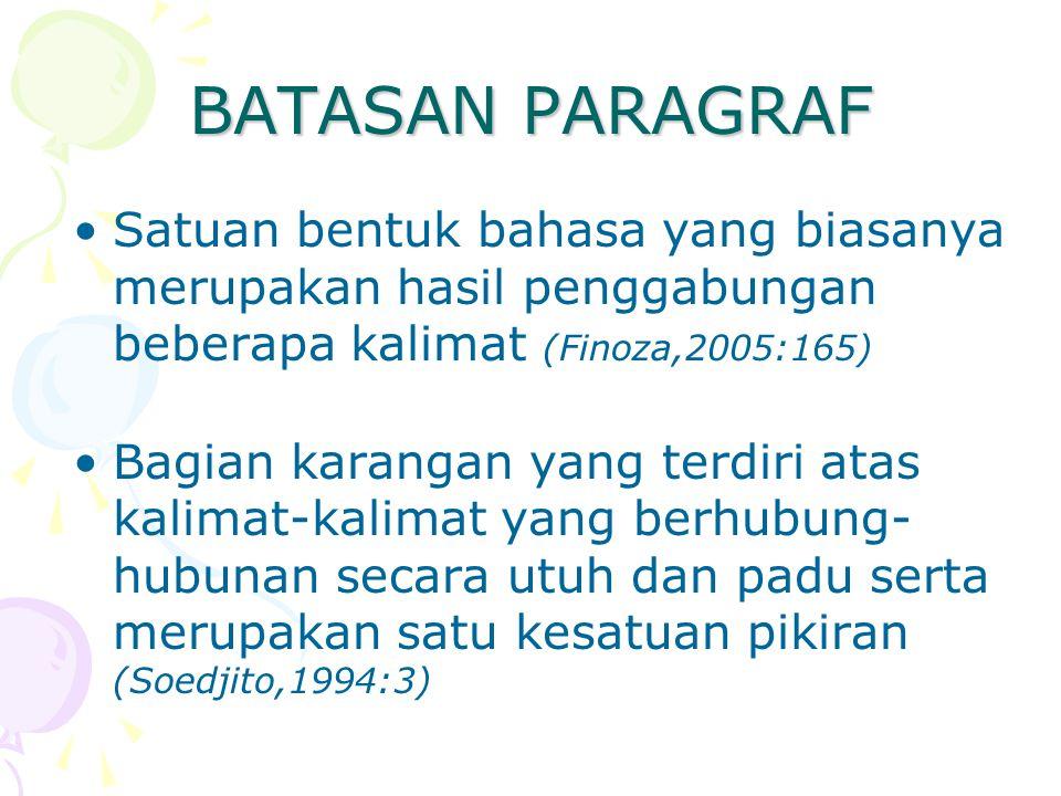 BATASAN PARAGRAF Satuan bentuk bahasa yang biasanya merupakan hasil penggabungan beberapa kalimat (Finoza,2005:165) Bagian karangan yang terdiri atas