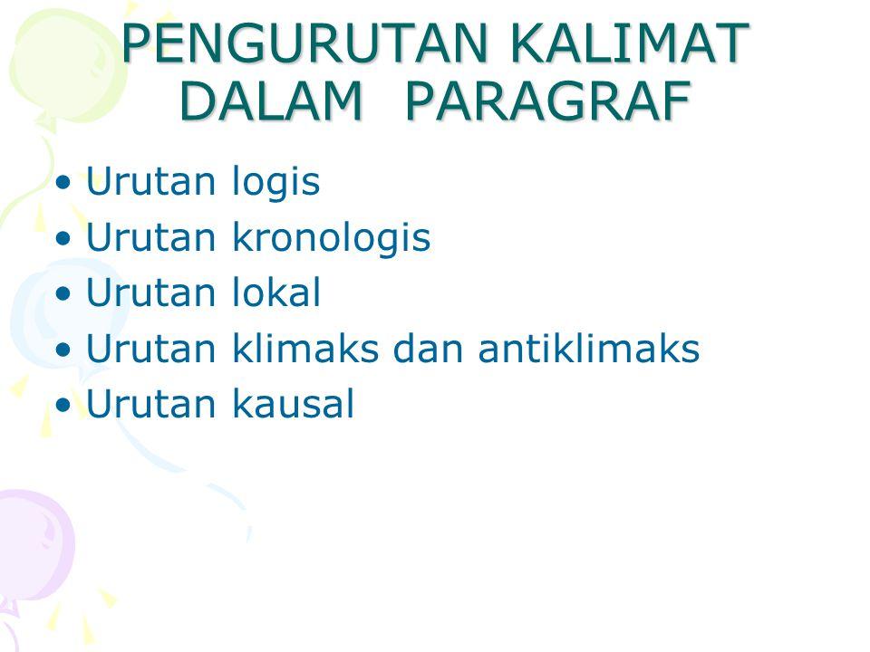 PENGURUTAN KALIMAT DALAM PARAGRAF Urutan logis Urutan kronologis Urutan lokal Urutan klimaks dan antiklimaks Urutan kausal