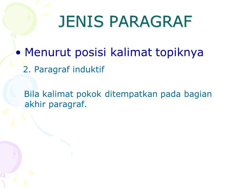 JENIS PARAGRAF Menurut posisi kalimat topiknya 2. Paragraf induktif Bila kalimat pokok ditempatkan pada bagian akhir paragraf.
