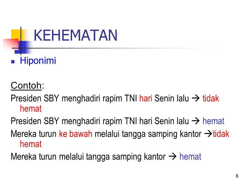 KEHEMATAN Pemakaian kata depan dari dan daripada Selain kata depan di dan ke , dalam bahasa Indonesia juga mengenal kata depan dari dan daripada Dari menunjukkan arah (tempat) dan asal (asal usul) Contoh: Pak Karto berangkat dari Bandung pukul 7.30.