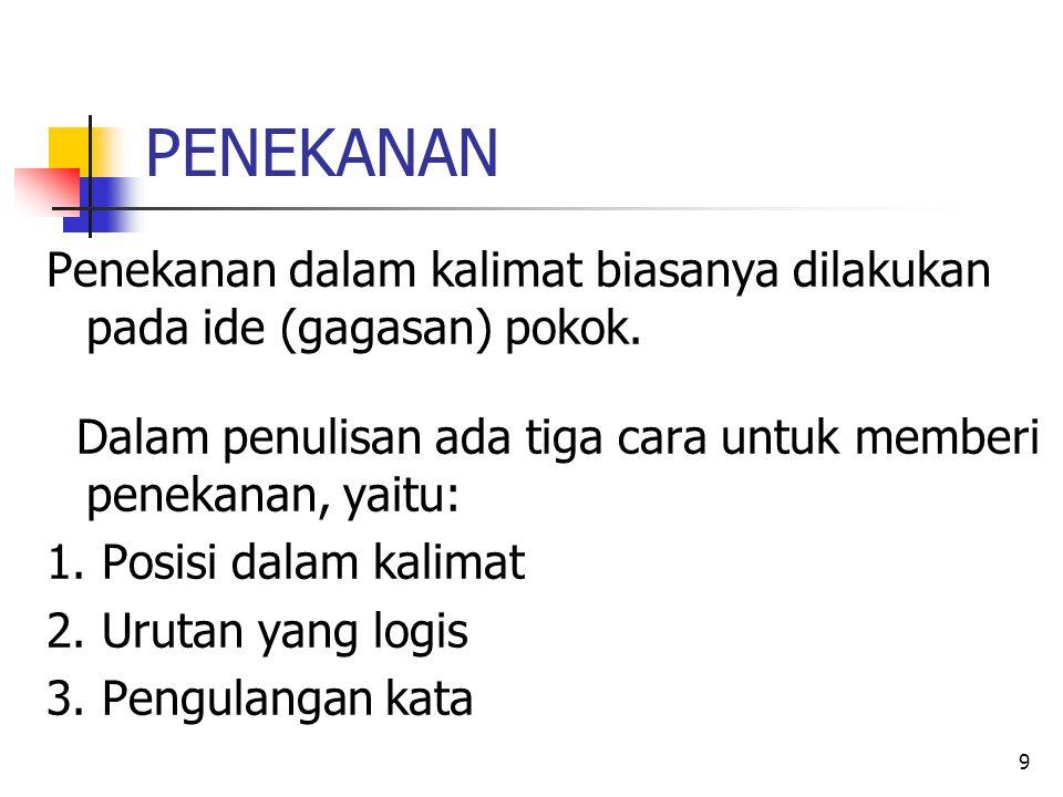 PENEKANAN 1.Posisi dalam kalimat Contoh: Prof. Dr.