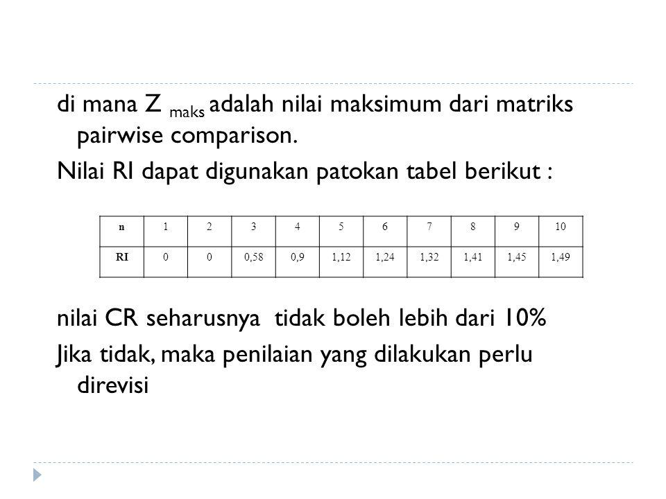 di mana Z maks adalah nilai maksimum dari matriks pairwise comparison. Nilai RI dapat digunakan patokan tabel berikut : nilai CR seharusnya tidak bole