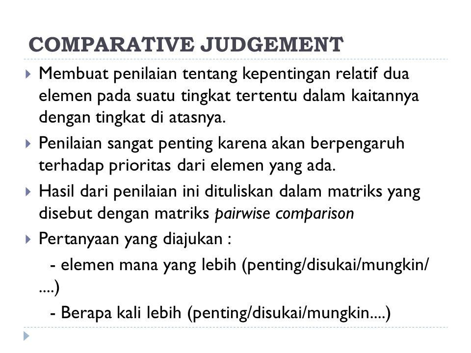 COMPARATIVE JUDGEMENT  Membuat penilaian tentang kepentingan relatif dua elemen pada suatu tingkat tertentu dalam kaitannya dengan tingkat di atasnya