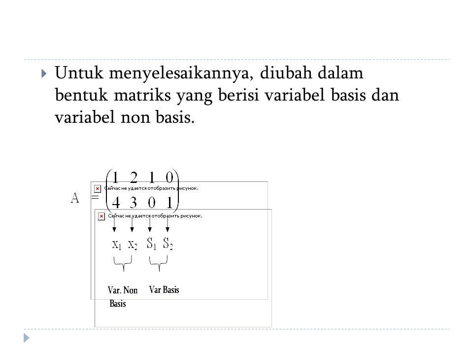  Untuk menyelesaikannya, diubah dalam bentuk matriks yang berisi variabel basis dan variabel non basis.