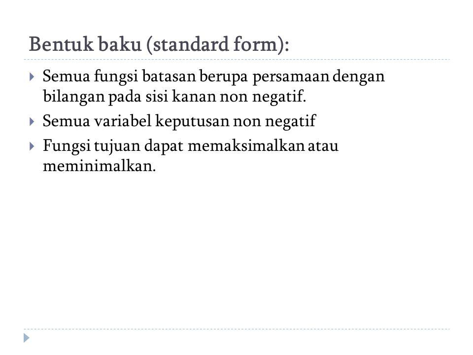 Bentuk baku (standard form):  Semua fungsi batasan berupa persamaan dengan bilangan pada sisi kanan non negatif.  Semua variabel keputusan non negat