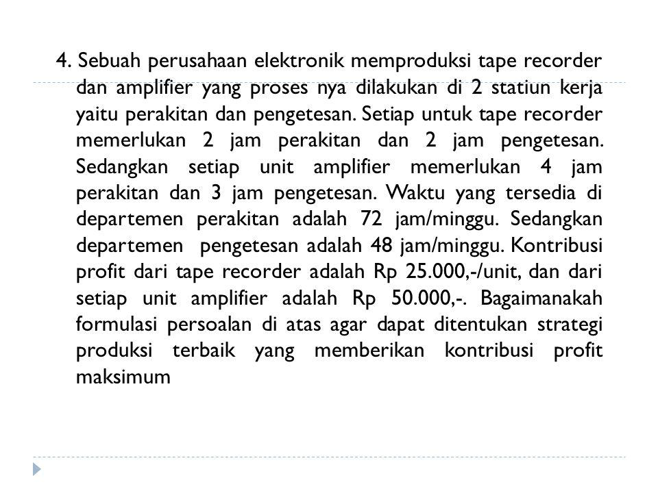 4. Sebuah perusahaan elektronik memproduksi tape recorder dan amplifier yang proses nya dilakukan di 2 statiun kerja yaitu perakitan dan pengetesan. S