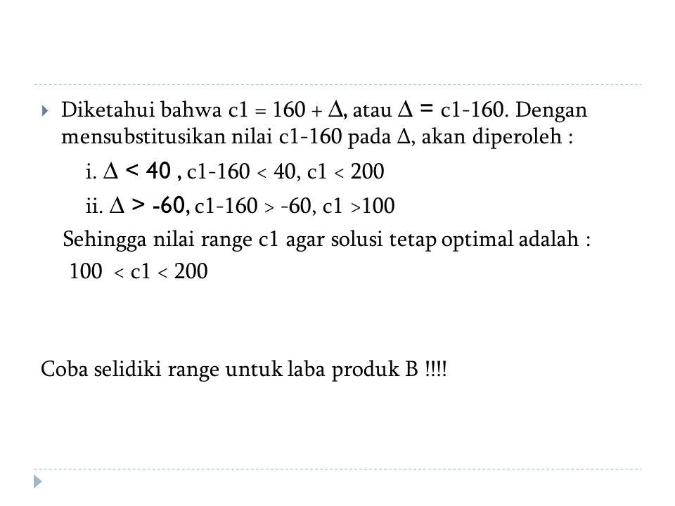  Diketahui bahwa c1 = 160 + ∆, atau ∆ = c1-160. Dengan mensubstitusikan nilai c1-160 pada ∆, akan diperoleh : i. ∆ < 40, c1-160 < 40, c1 < 200 ii. ∆