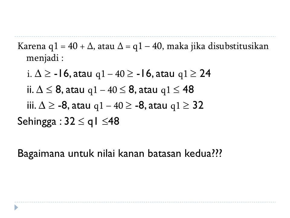 Karena q1 = 40 + ∆, atau ∆ = q1 – 40, maka jika disubstitusikan menjadi : i. ∆  -16, atau q1 – 40  -16, atau q1  24 ii. ∆  8, atau q1 – 40  8, at